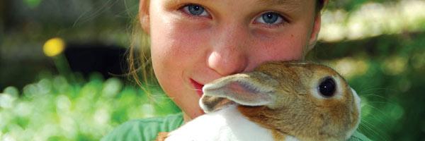 Girl holding her bunny