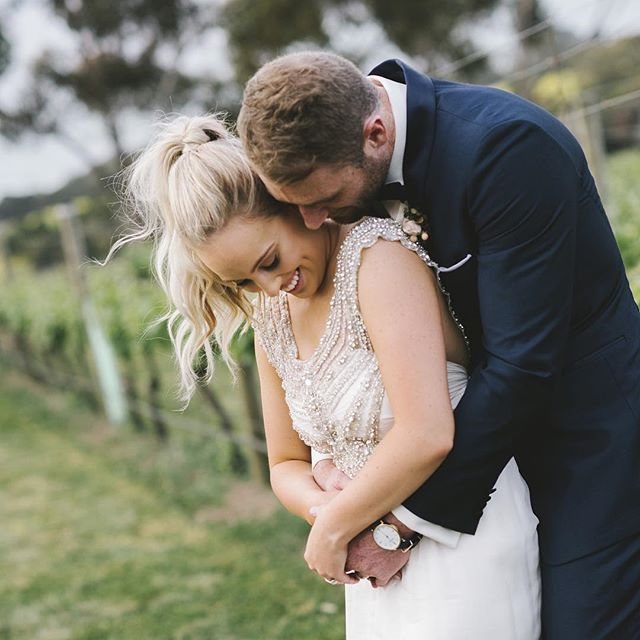 Carly + Luke- cuddles in the vines at @jackrabbitvineyard #geelongwedding #bellarinewedding #winerywedding #annacampbell