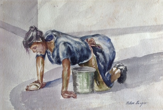 Woman Scrubbing Floor