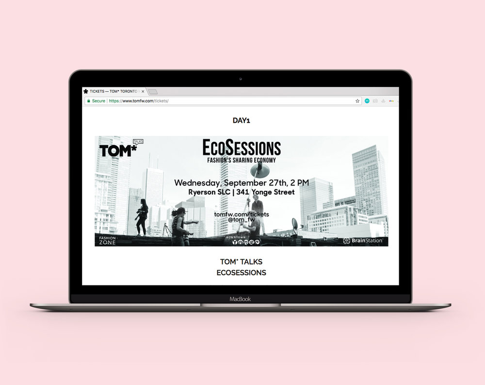 "TOM*  Toronto Men's Fashion Week Talks e-ticket design for ""Ecosessions"" Talk. Displayed on their website."