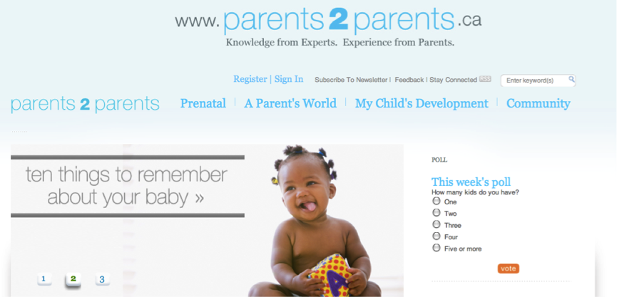 Parents to Parents homepage