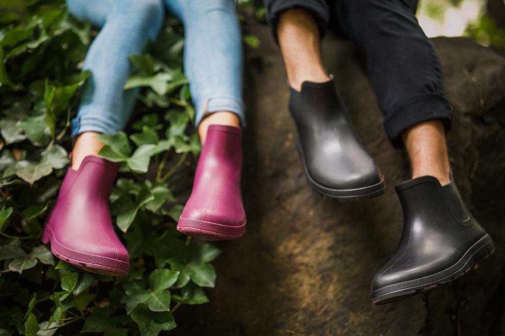 couple rain boots