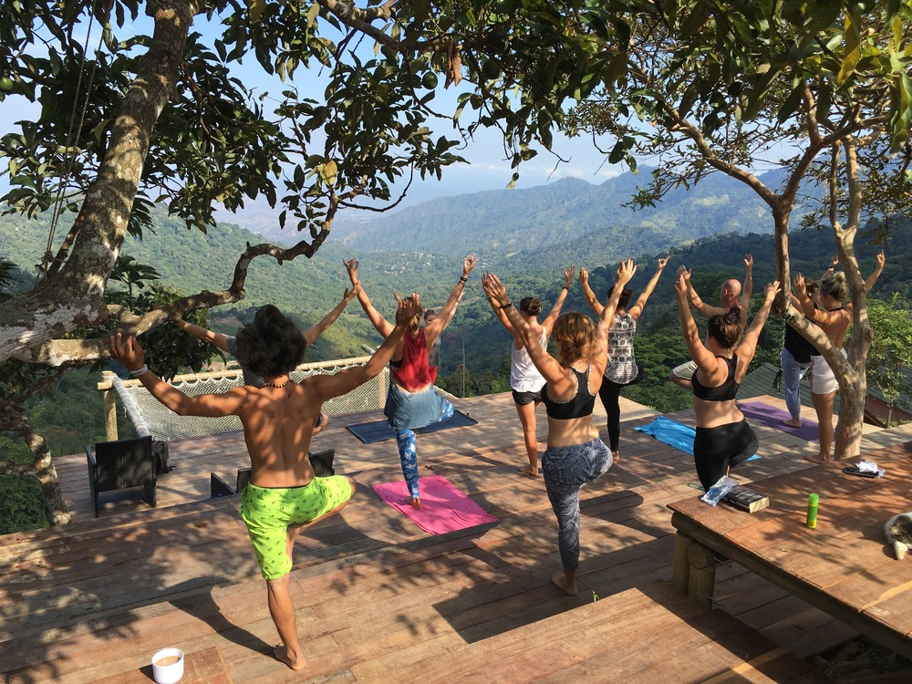 Teaching yoga at Casa Elemento