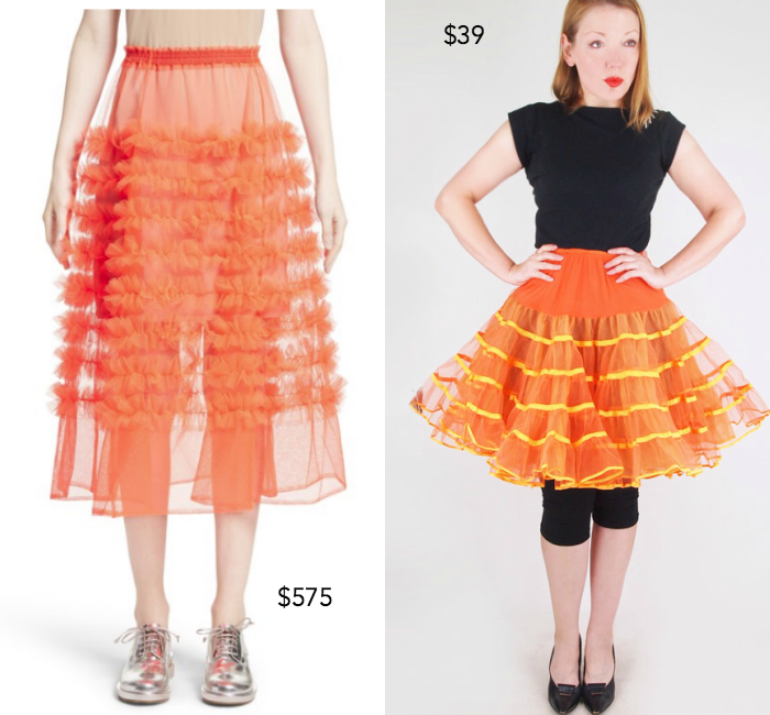 Melanie tulle skirt by Molly Goddard; 60s orange tulle and organza 2-layer crinoline slip