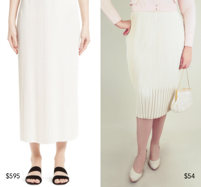 St. John Collection pleated knit midi skirt; 50s off-white permanent pleat pencil skirt by Miracle Sportswear Boston