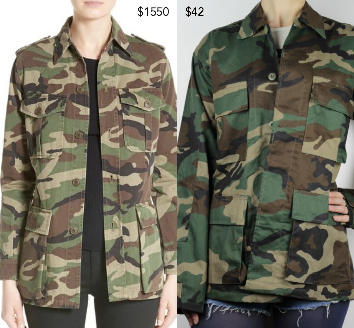 Saint Laurent patch camo print military parka; Vintage camo jacket from FullMetalApparel