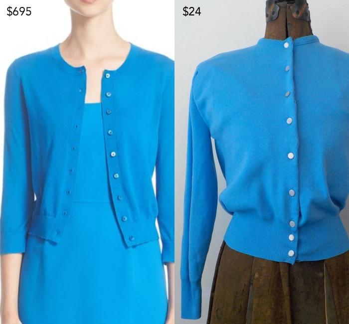 Michael Kors cashmere button cardigan; Vintage Ban-Lon cardigan from HazeyJaneVintage