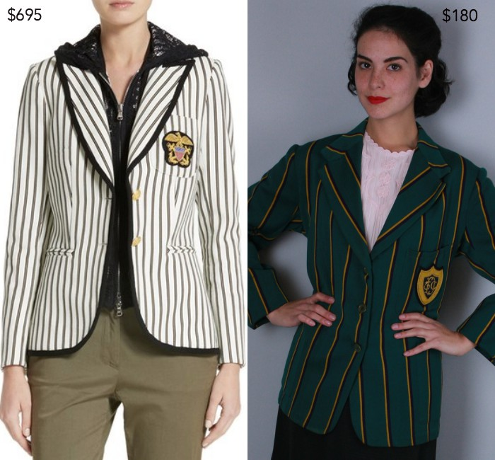 Spirit stripe cotton blazer by Veronica Beard; 1920-30s women's collegiate jacket from OverAttiredVintage
