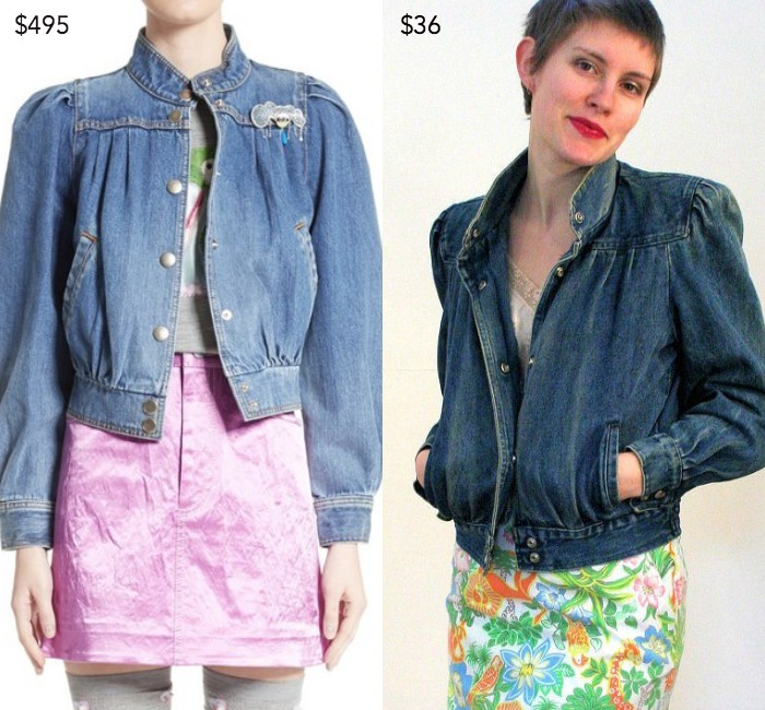 Puff sleeve denim jacket by Marc Jacobs; 80s puff sleeve jacket from MorningGlorious