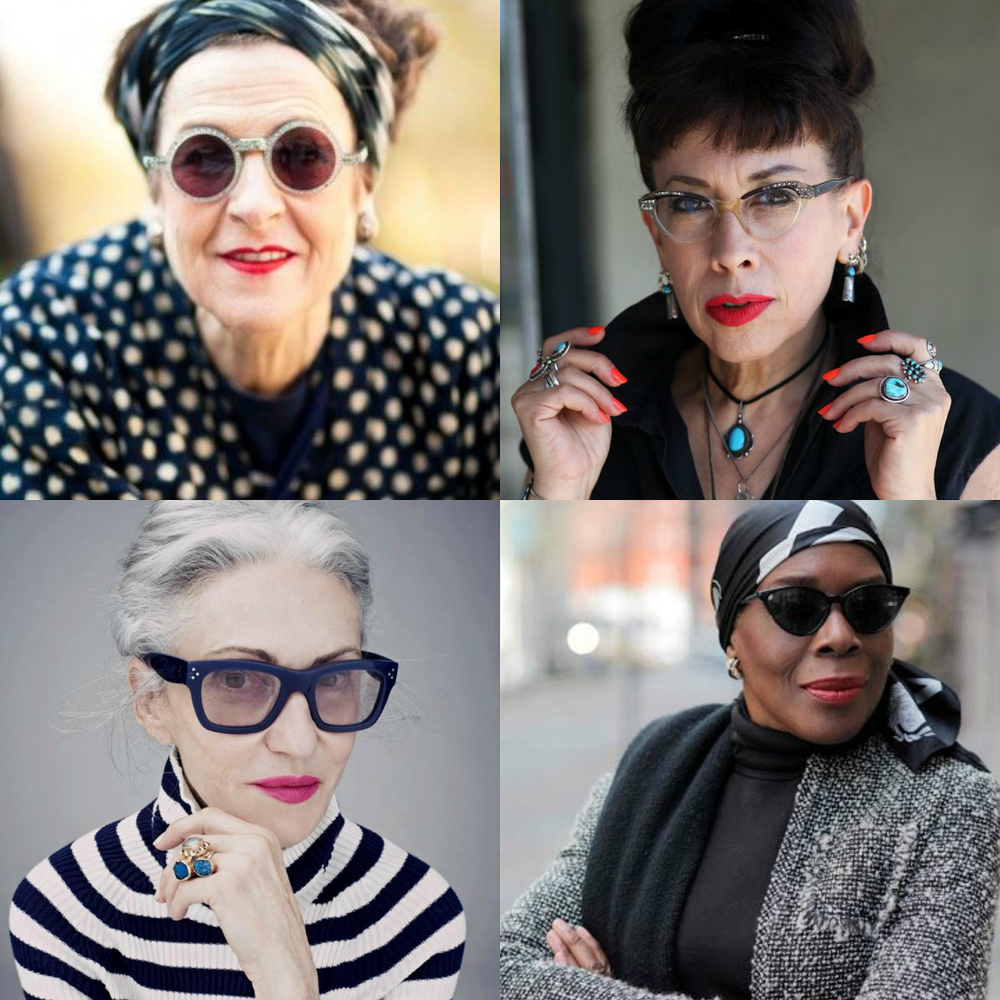 Tziporah Salamon via Refinery 29; Pearl E. Gates via Advanced Style, Linda Robin via The Coveteur; Richelle Jones via Advanced Style
