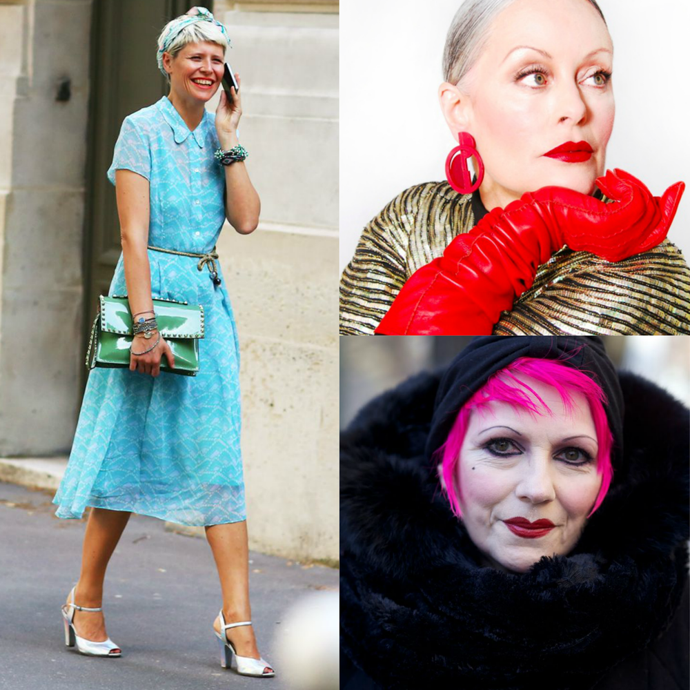 Elisa Nalin via Street Peeper ;  Jane Forth via Idiosyncratic Fashionistas ;  unnamed woman via Advanced Style