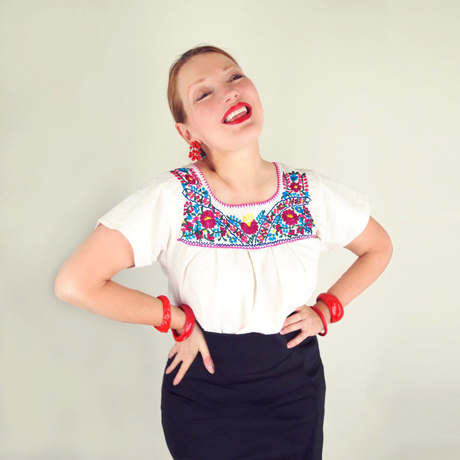 Vintage Mexican Embroidered Peasant Blouse M L