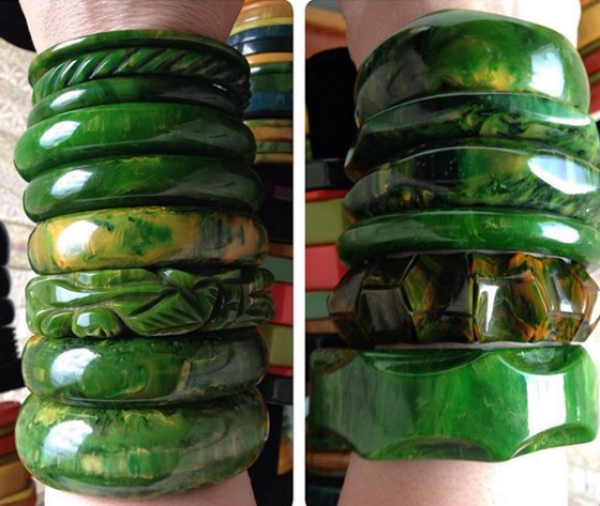 Just two of the many amazing vintage bakelite bracelet stacks the vintage maven Sandi of @lorrelmae has shown on Instagram. (Also, check out her Etsy shop!)