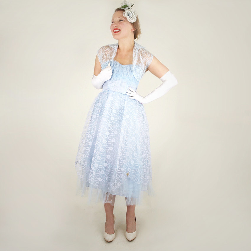50s Light Blue Frothy Taffeta, Tulle and Lace Strapless Party Dress with Bolero