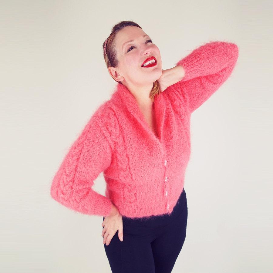 50s Pink Angora Mohair Hand Knit Cardigan