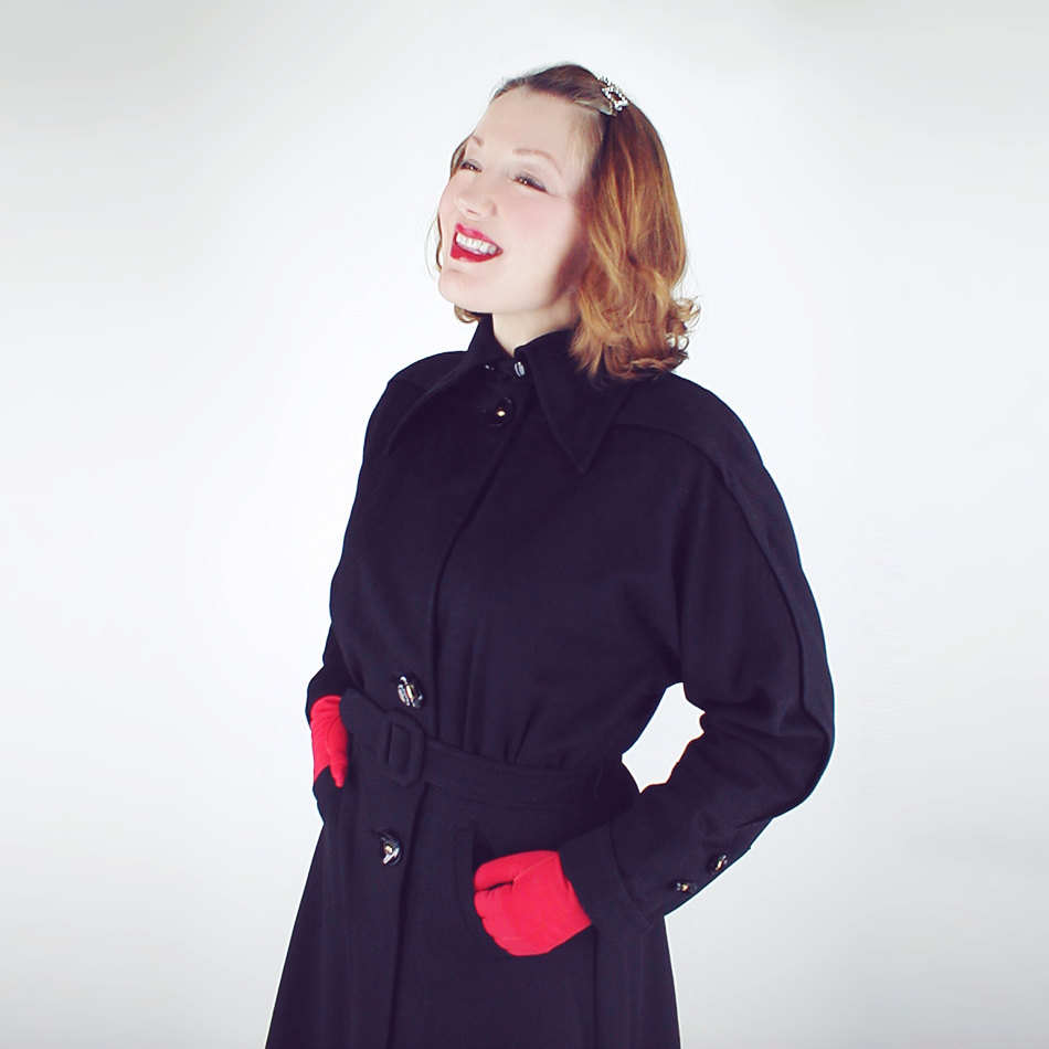 40s Black Velvety Wool Melton Belted Coat
