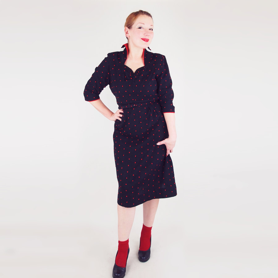 40s Black Wool Red Dot Dress with Stand-up Collar