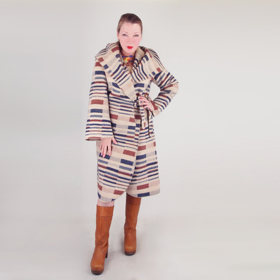 70s Wool Wrap Hooded Coat - Quatre by de Chambs