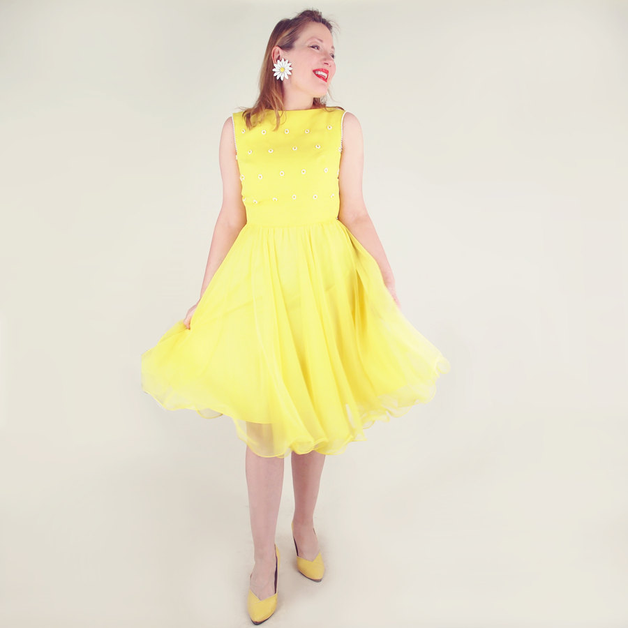 60s Yellow Beaded Party Dress with Ruffled Hem by Miss Elliette