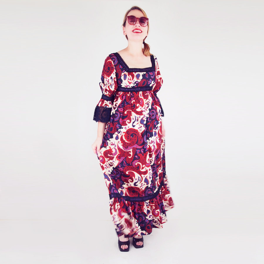 70s Jay Morley for Fern Violette Burgundy Paisley Print Cotton Maxi Dress