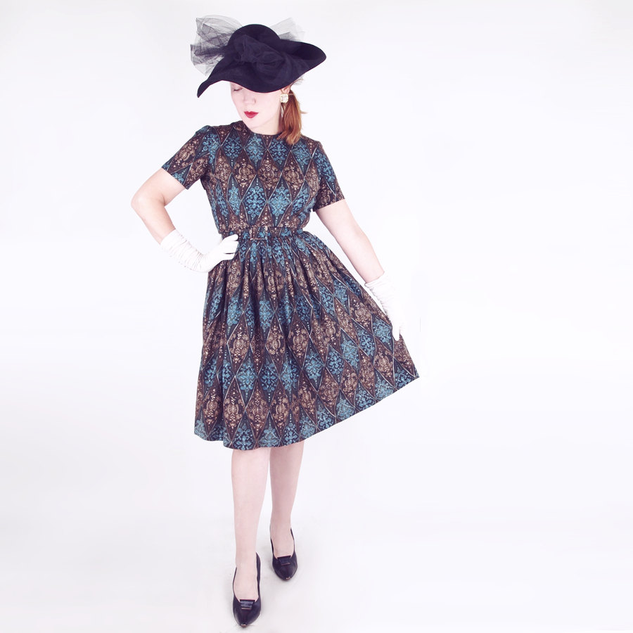 50s Baroque Blue Brown Print Full Skirt
