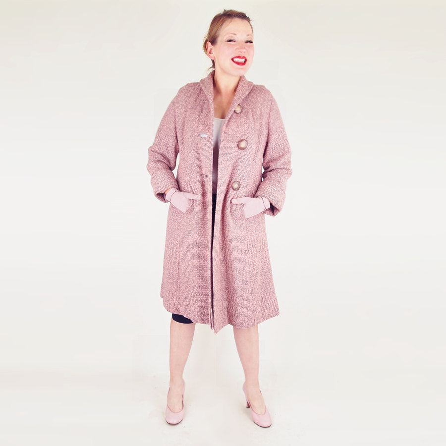 50s Pink and Grey Wool Tweed Flaring Coat