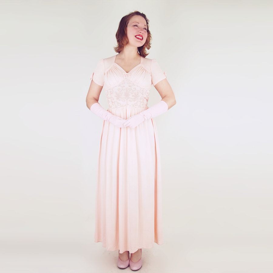 40s Beautiful Pink Rayon Jersey Long Gown with Provenance