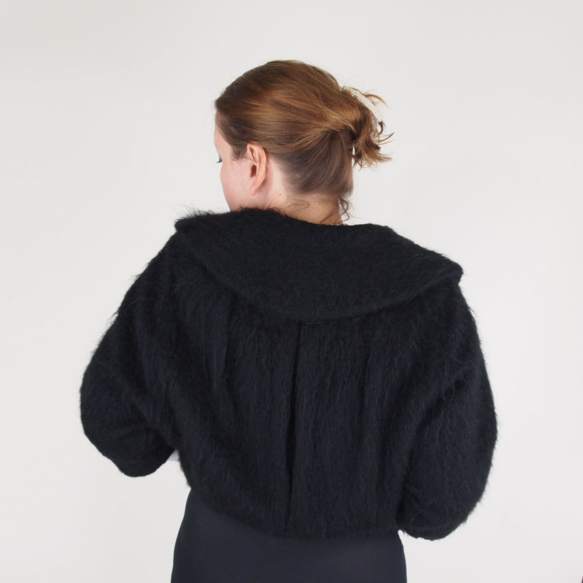 50s Chic Black Mohair Fleece Jacket - I. Magnin