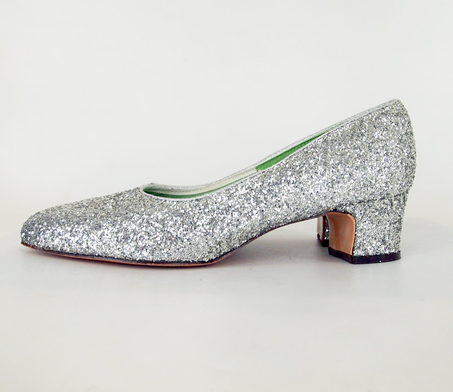 60s Mod Silver Glitter Pumps Mr. Dan