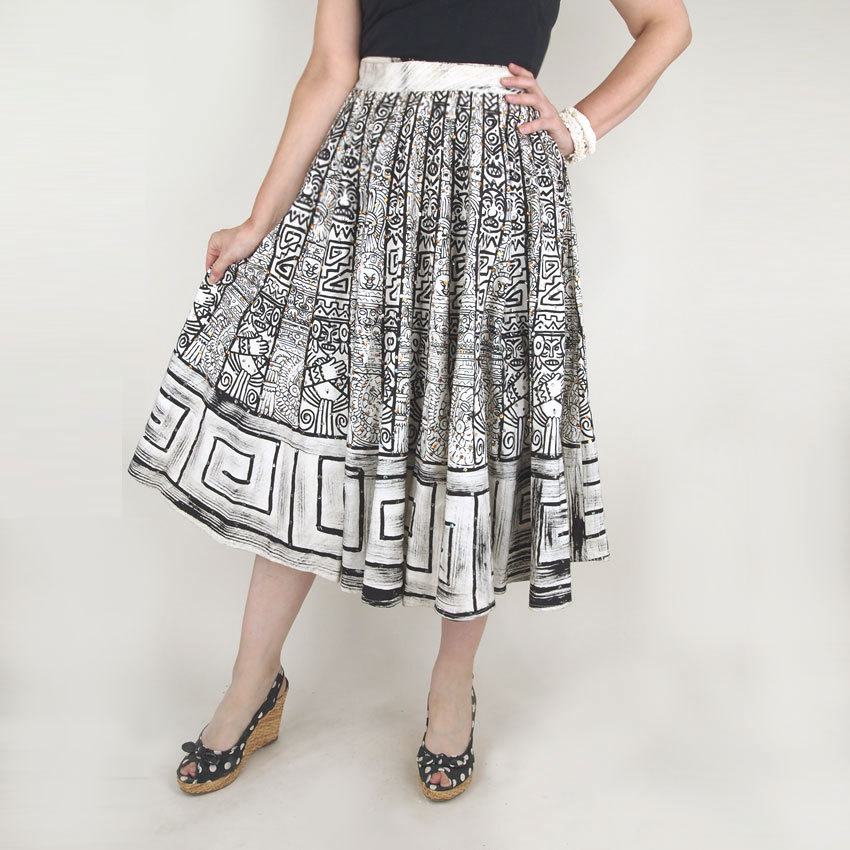 50s Mexican Circle Skirt with Aztec Inspired Black Print and Metallic Sequins