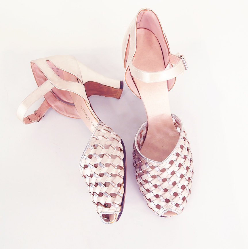 50s Cream Satin and Silver Dance Shoes Sandals