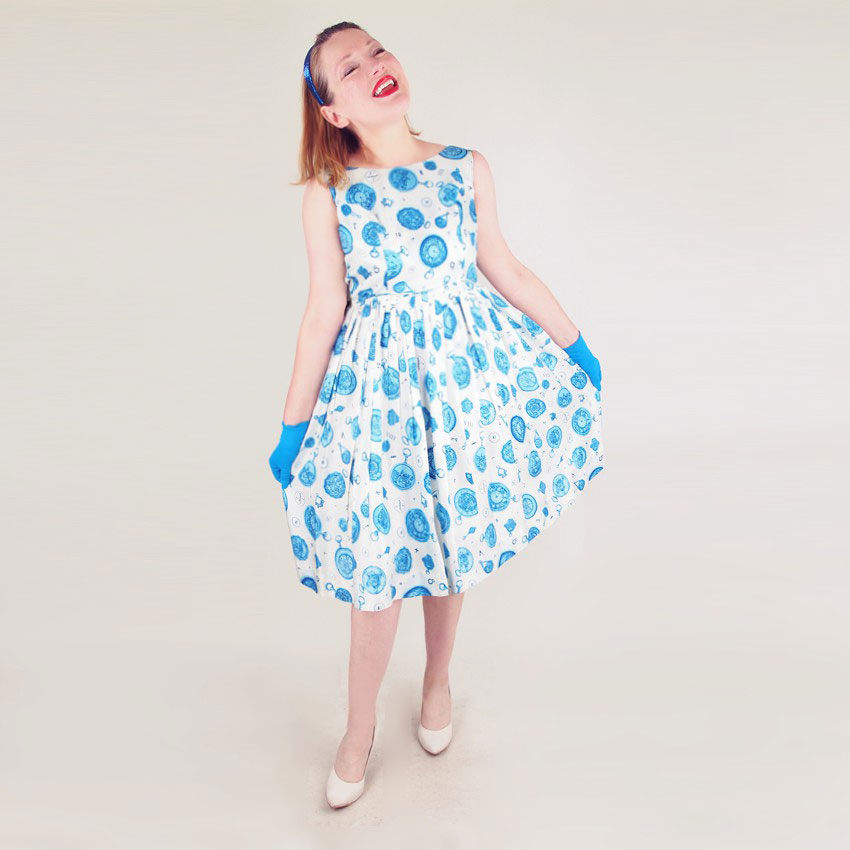 50s Blue and White Novelty Pocket Watch Print Full Skirt Dress