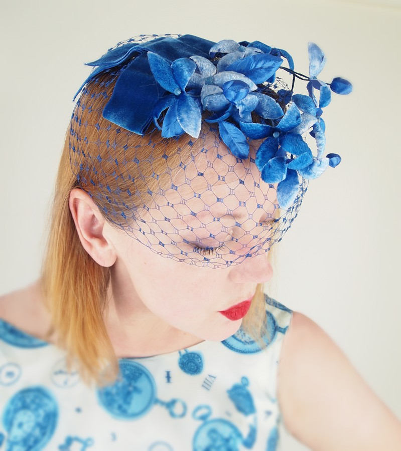 Vintage Blue Velvet Flower Veiled Fascinator Whimsy Hat