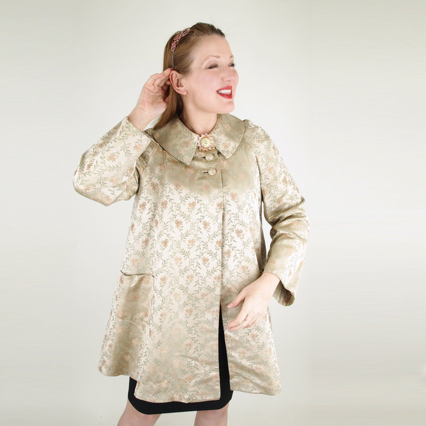 50s Gold Silk Brocade Swing Jacket