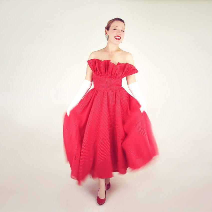 50s Red Dotted Swiss Strapless Full Skirt Dress with Dramatic Ruffle
