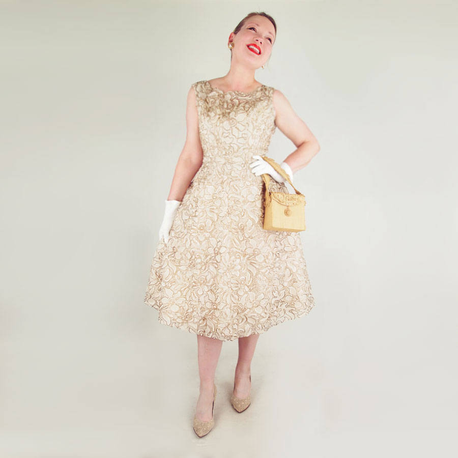50s Gold Metallic Cord Embroidered Ecru Lace Dress by Benham Original