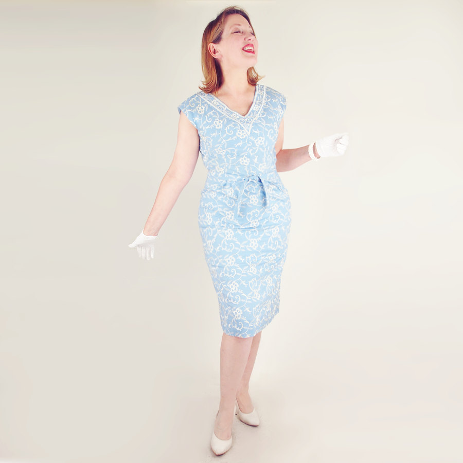 50s Light Blue Sheath Dress with White Embroidery