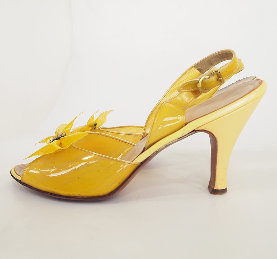 50s Clear Yellow Sling Back High Heel Shoes with Bows by Dominic Romano