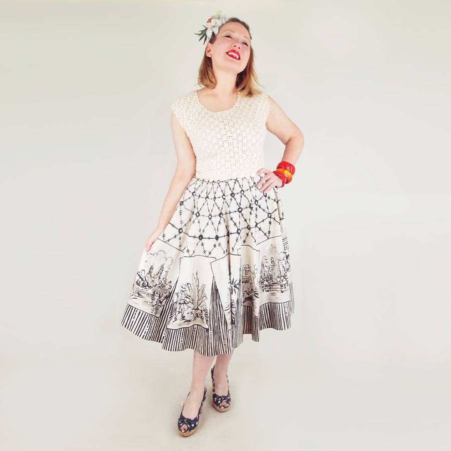 50s Circle Skirt Hand Painted with Mexican Scenes - White & Black with Silver Sequins