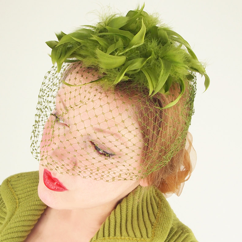 60s Olive Green Feather Veiled Fascinator Whimsy Hat