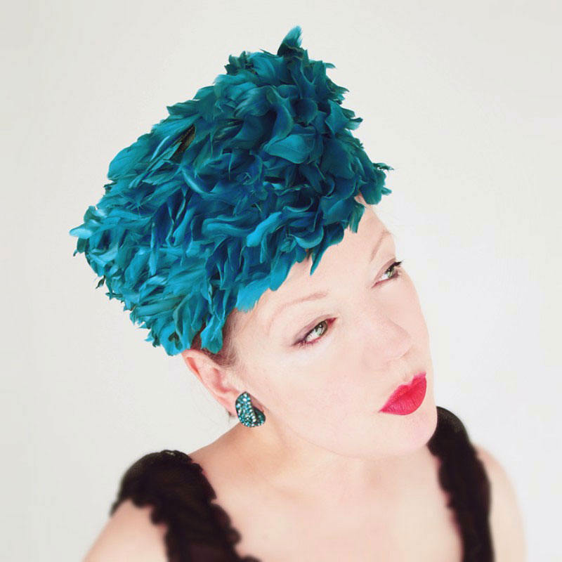 60s Turquoise Feather Tall Pillbox Hat