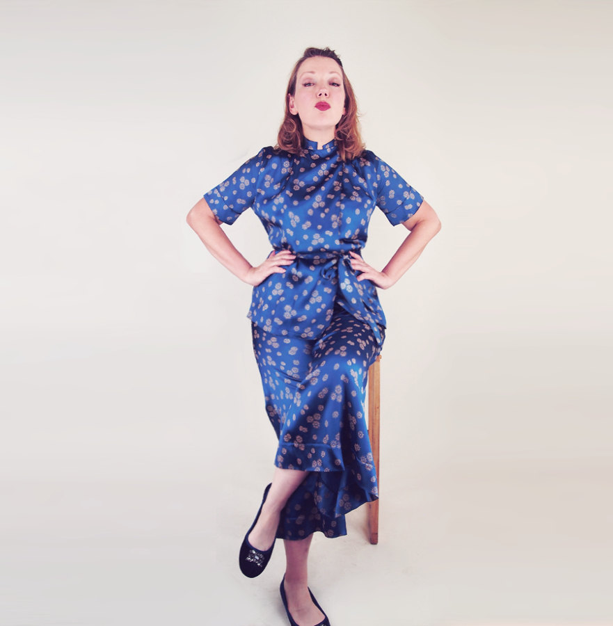 30s 40s Blue Satin Pajamas with Wrap Top and Wide Leg Pants