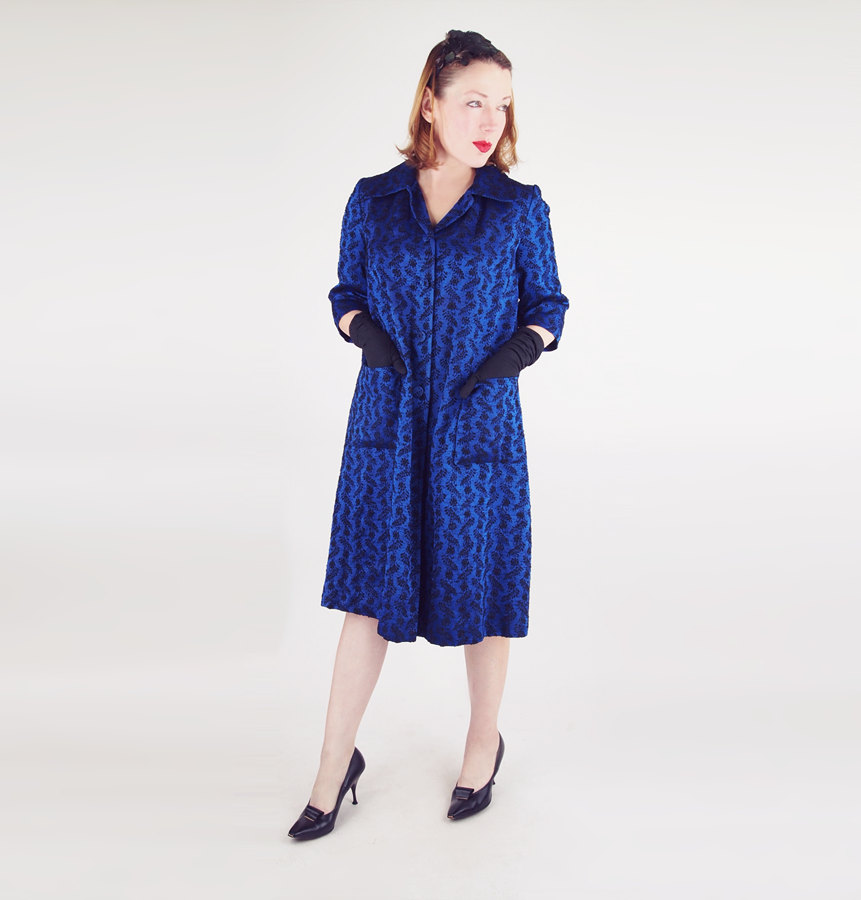 50s Royal Blue and Black Jacquard Coat