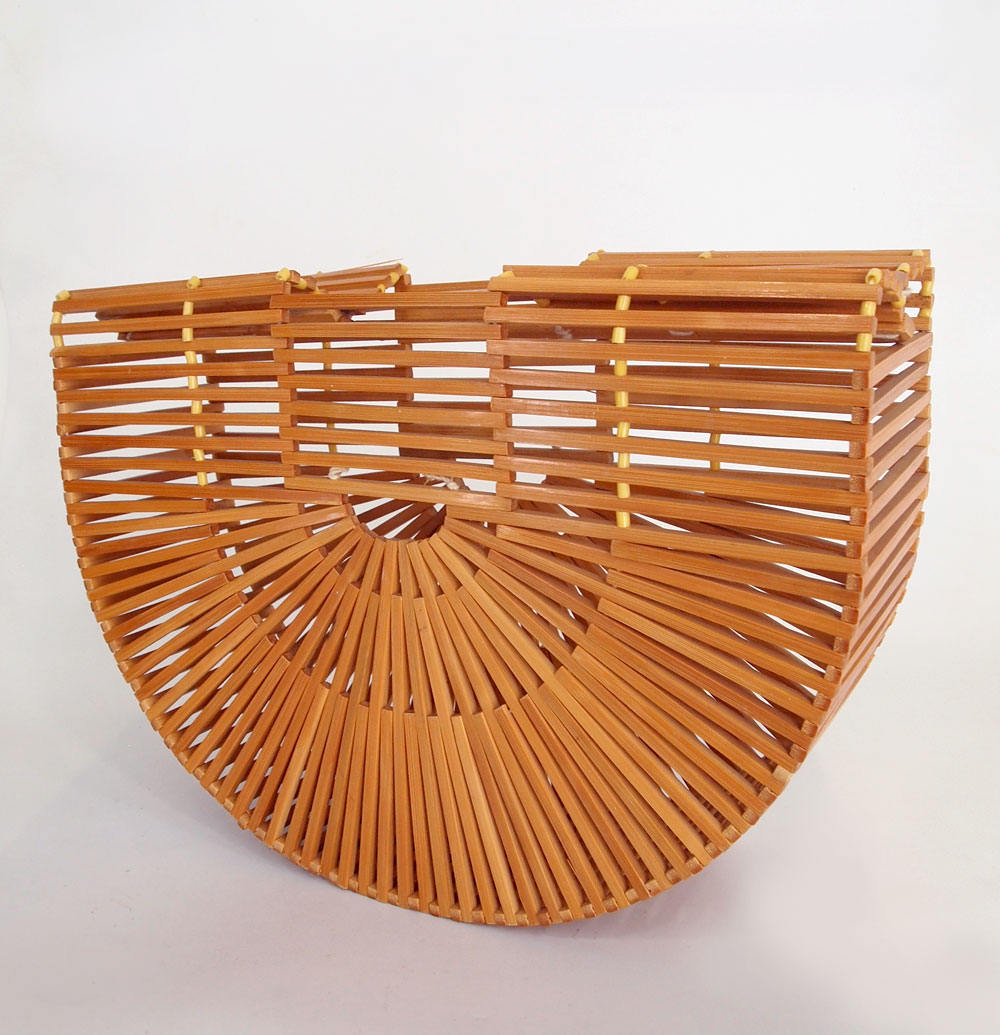 True Vintage Bamboo Slat Cage Bag Made in Taiwan