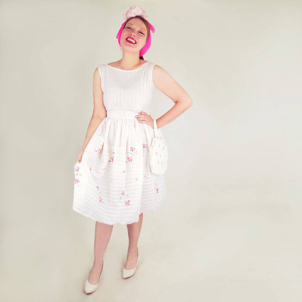 50s Pale Pink Flower Embroidered Satin Stripe Full Skirt Dress by Jerry Gilden