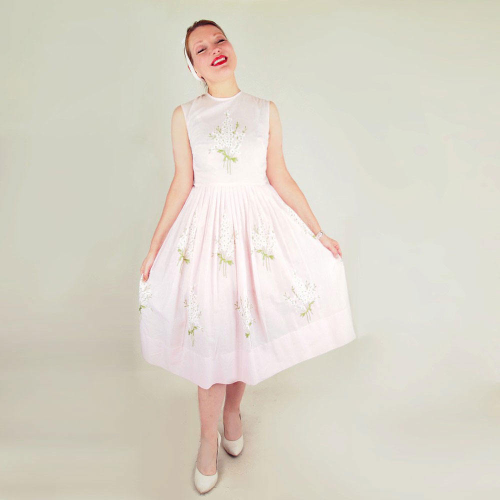 50s Full Skirt Dress in Pink with White & Green Embroidered Flowers by Henry Rosenfeld