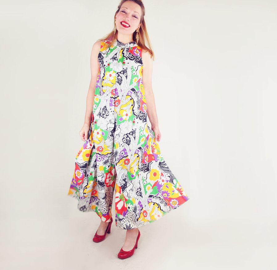 60s Animals and Flowers Print Palazzo Jumpsuit