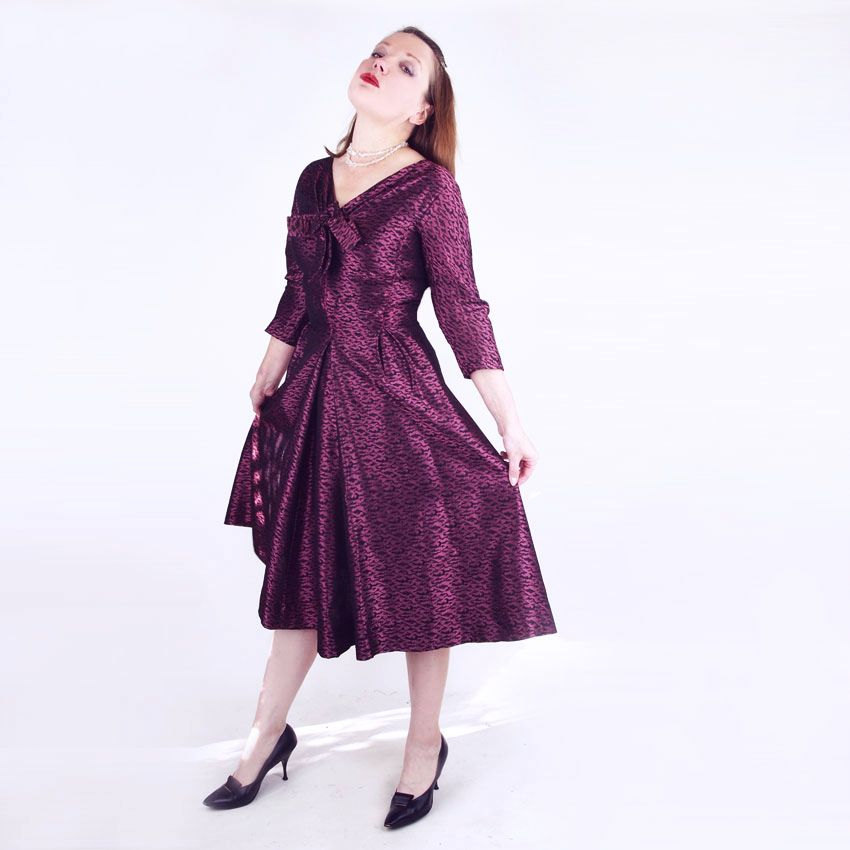 50s Purple and Black Brocade Full Skirt Dress