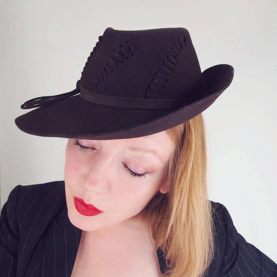 40s Deep Brown Felt Fedora Style Brimmed Hat