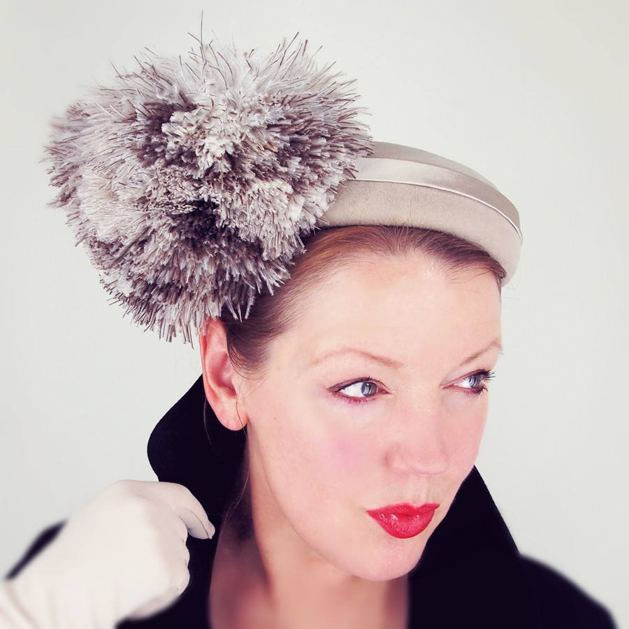 50s Beige Felt Hat with Large Ostrich Feather Puff by Suzy Lee